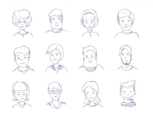 Doodle human heads