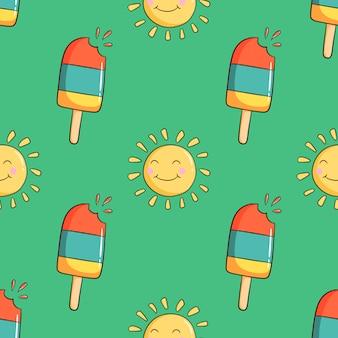 落書きのアイスクリームとかわいい太陽のキャラクターのシームレスパターン