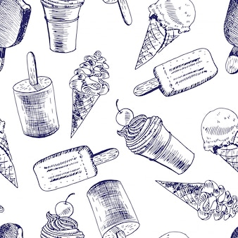 Doodle ice cream seamless background