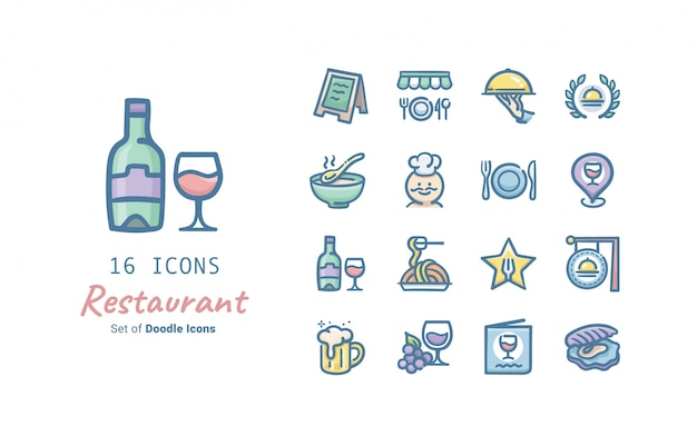 Ресторан doodle icon collection