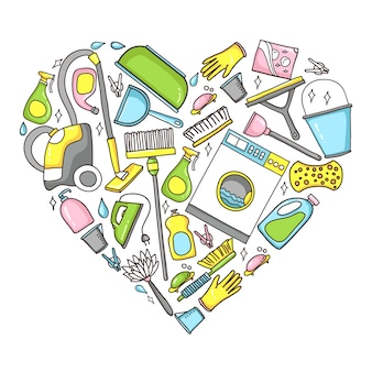 Doodle illustration of cleaning equipment in a heart shape.
