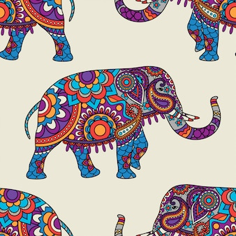 Doodle indian elephant seamless pattern