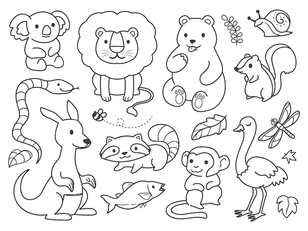 Doodle jungle animals