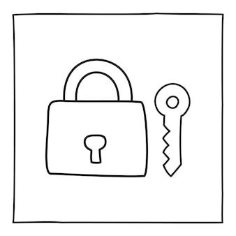 낙서 키와 자물쇠 아이콘 또는 로고, 얇은 검은색 선으로 손으로 그린 흰색 배경에 고립 된 그래픽 디자인 요소입니다. 벡터 일러스트 레이 션