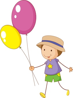A doodle kid holding balloons cartoon character isolated