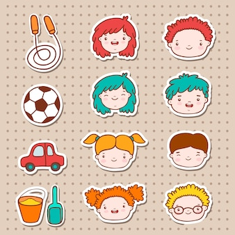 Doodle kids faces icons