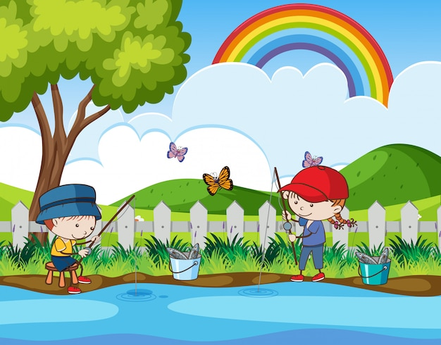 Doodle kids fishing in the river