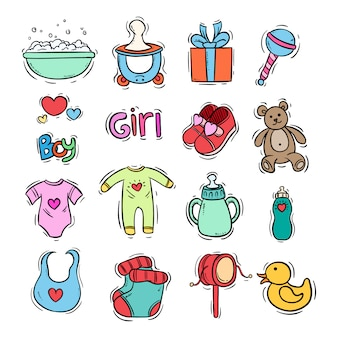 Doodle kids icons collection with color