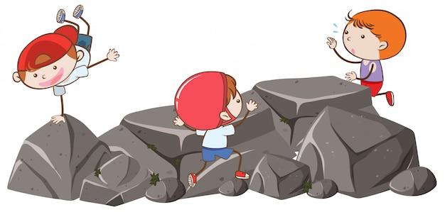 바위에서 낙서 아이
