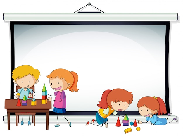 Doodle kids on projector screen template