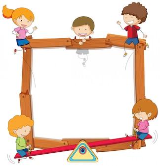 Doodle kids on wooden frame