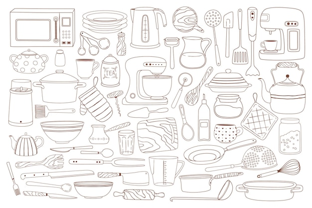 Doodle kitchenware cooking and baking equipment pot spoon whisk microwave knife set