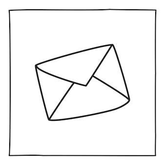落書き文字封筒アイコンまたはロゴ、細い黒い線で手描き。白い背景で隔離。ベクトルイラスト