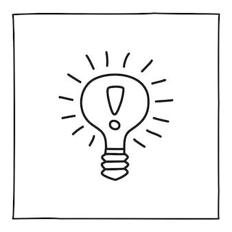 細い黒い線で手描きの電球のアイコンやロゴを落書き。白い背景で隔離。ベクトルイラスト