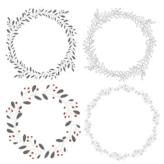 Doodle line art hand drawn botanical circle wreath frame collection