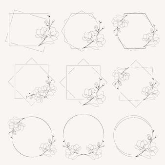 Doodle line art magnolia blooming flower minimal frame