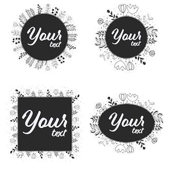 Doodle line art wreath рамка для логотипа или социальных медиа баннер