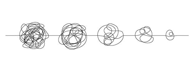 낙서 라인 매듭. 지저분한 손으로 그린 선, 단순함에 대한 혼돈 및 명확성 개념에 대한 혼란. 벡터 일러스트 레이 션 곡선 아이디어, 사고 과정 및 여러 솔루션