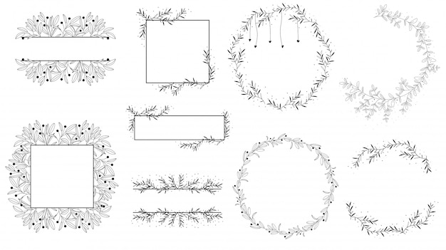 Doodle line wreath for logo for wedding invitation collection
