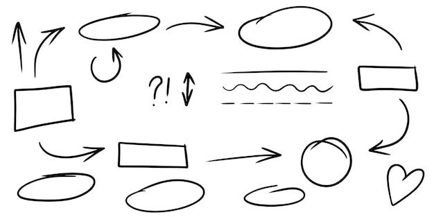 낙서 라인, 화살표, 원 및 곡선 vector.hand 그려진된 디자인 요소 infographic에 대 한 흰색 배경에 고립. 벡터 일러스트 레이 션.