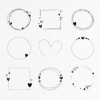 Collezione di cornice amore doodle