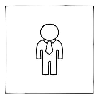 落書き男または性別のない人のアイコンまたはロゴ、細い黒い線で手描き。