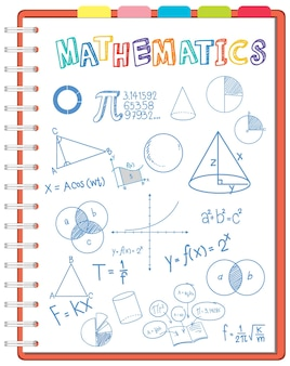 노트북 페이지에 수학 공식 낙서