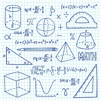 Doodle maths and geometry concept. trigonometry functions, charts and mathematical formulas. vector school education background