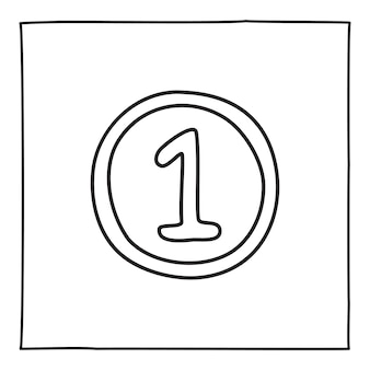 細い黒い線で手描きされたリボンとナンバーワンのアイコンが付いた落書きメダルバッジ。白い背景で隔離。ベクトルイラスト