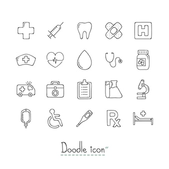 Doodle medical icons.