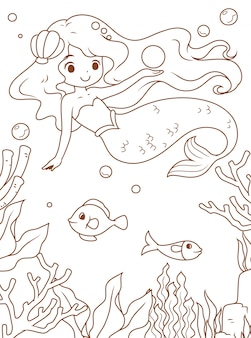 Doodle mermaid and the sea