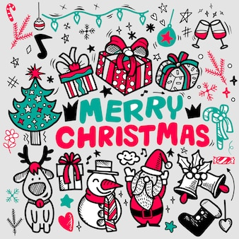 Doodle merry christmas greeting card, freehand christmas outline doodles