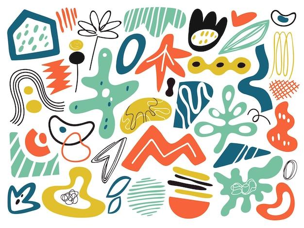 낙서 현대 추상 모양입니다. 개체 콜라주, 현대 미술 그래픽. 크리에이 티브 예술적 요소, 기하학적 낙서 벡터 일러스트 레이 션. 현대 기하학적 콜라주, 텍스처 스플래시 드로잉