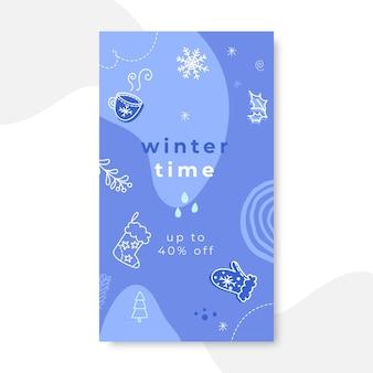 Doodle monocolore inverno instagram story Vettore gratuito