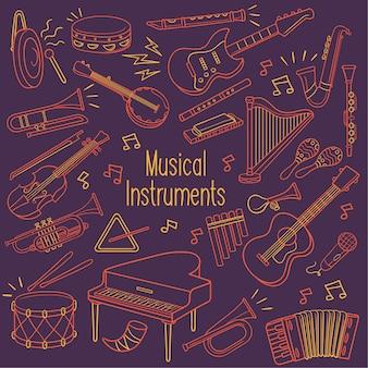 Музыкальные инструменты doodle в неоновом цвете
