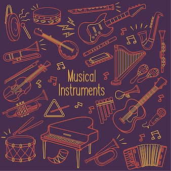 Doodle musical instruments in neon color