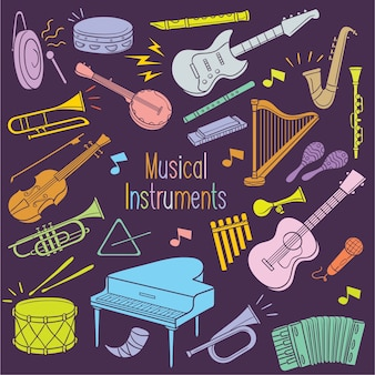 Doodle musical instruments in pastel color