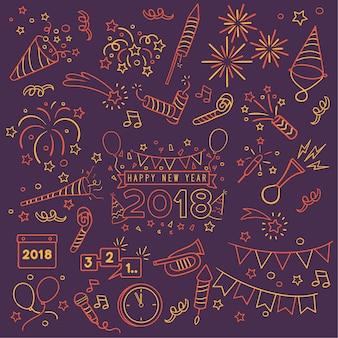 Doodle new year celebration elements