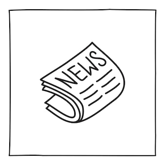 Doodle newspaper icon or logo, hand drawn with thin black line.