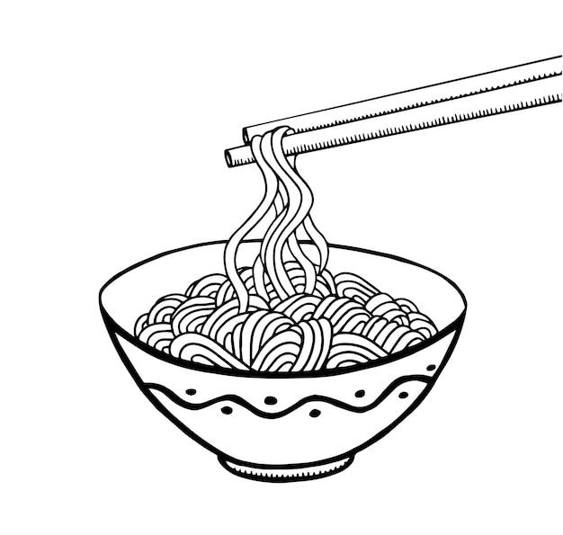 ボウルと箸の落書き麺。手描き