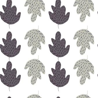 낙서 오크 원활한 패턴 흰색 배경에 고립입니다. 간단한 자연 벽지.