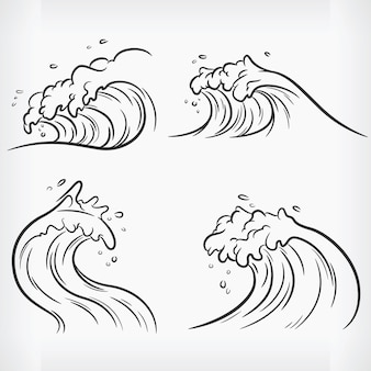 Doodle ocean wave handdrawn outline sketch