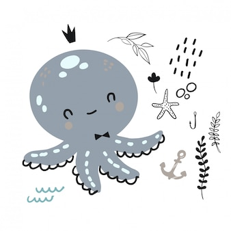 Doodle octopus for childish  .