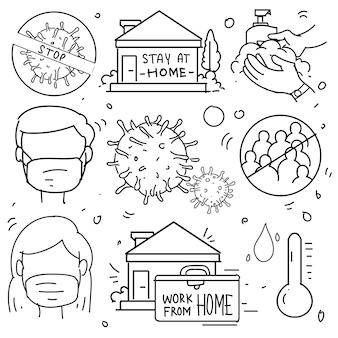 코로나바이러스 보호의 낙서. 보호 조치, 코로나바이러스, 사회적 거리, 잠복기, 집에 머물기, 집에서 일하는 것과 같은 낙서가 포함되어 있습니다.
