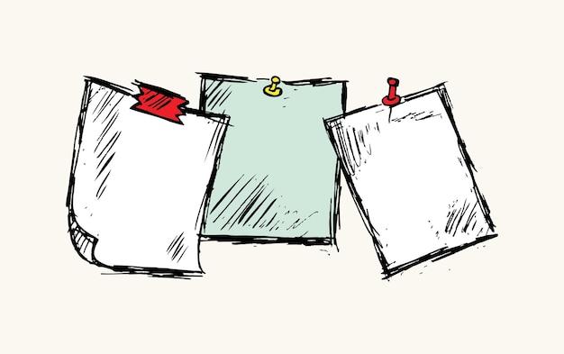 Каракули бумаги для заметок и канцелярской кнопки векторные иллюстрации
