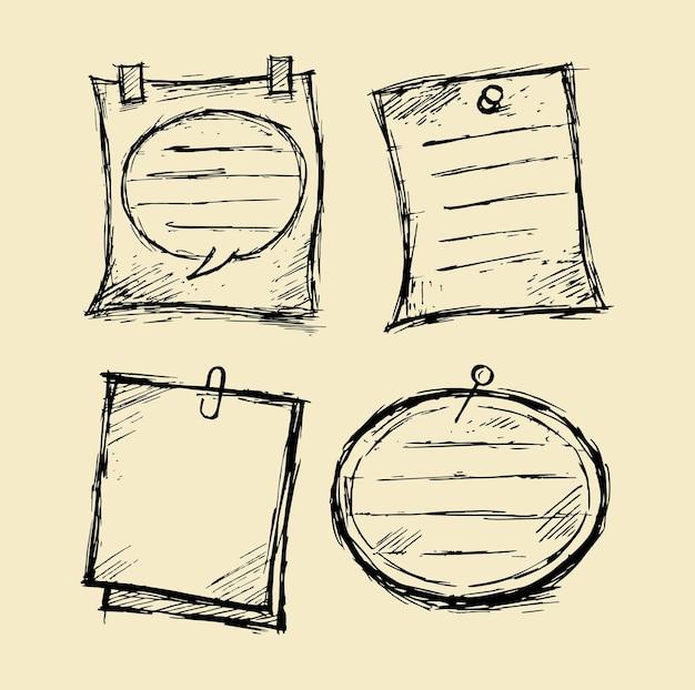Каракули бумажной записки с канцелярской векторной иллюстрацией