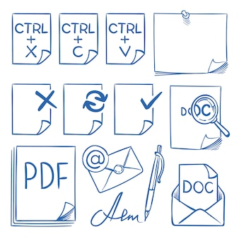 Doodle office paper  icons with function symbols update, paste, cut, copy, send, delete and edit