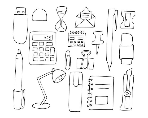 Коллекция значков канцелярских принадлежностей каракули в векторе. нарисованная рукой коллекция икон канцелярских принадлежностей.