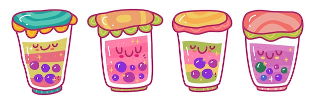 Doodle ollection set of boba bubble tea drink. can use for sticker etc