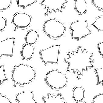 チャット泡シームレスパターンの落書きやスケッチスタイル